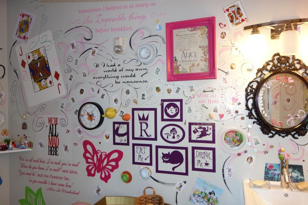 bathroom with Alice in Wonderland theme