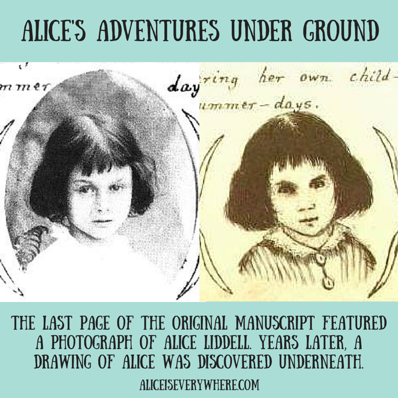 side by side photo and drawing of alice liddell
