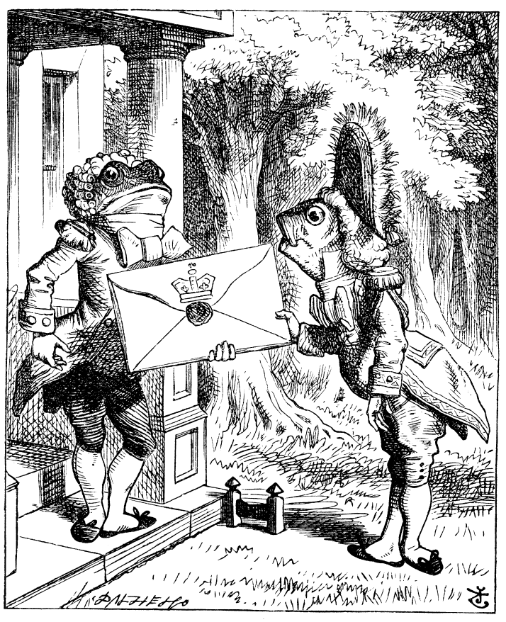 John Tenniel illustration of frog and fish footmen