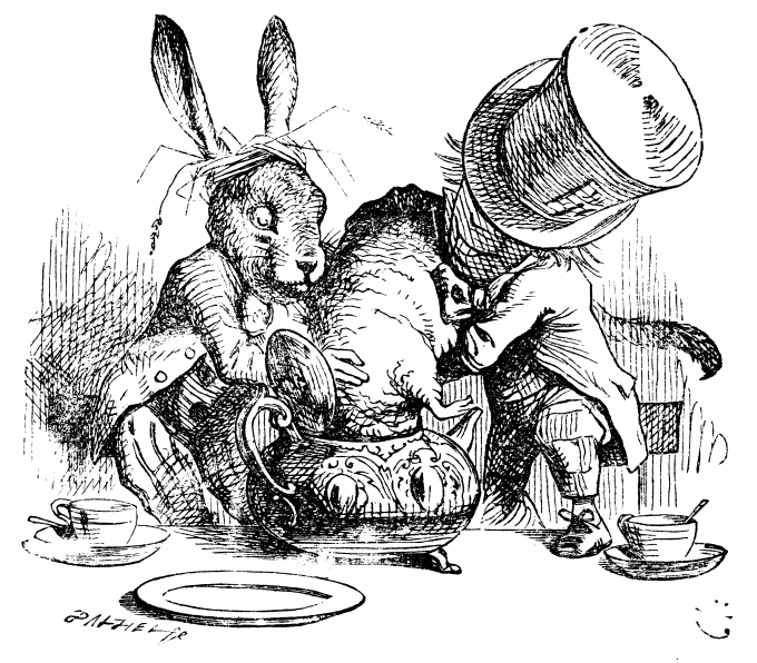 original illustration of March Hare, Dormouse and Hatter