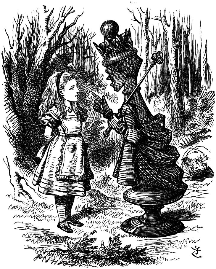 Red Queen meets Alice outside of the Garden of Live Flowers
