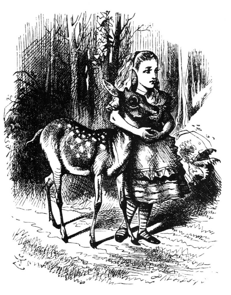 alice and fawn in the wood with no names