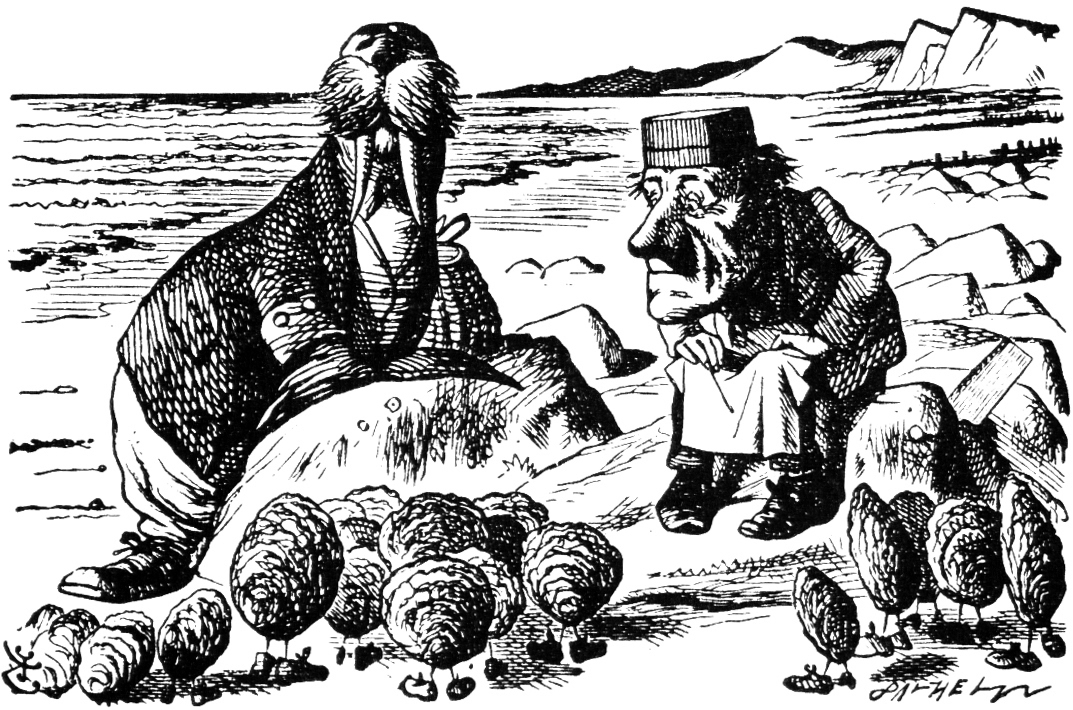 The Walrus and the Carpenter chat up some oysters