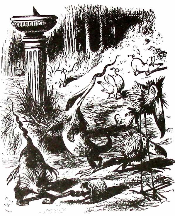 John Tenniel illustration of Jabberwocky words