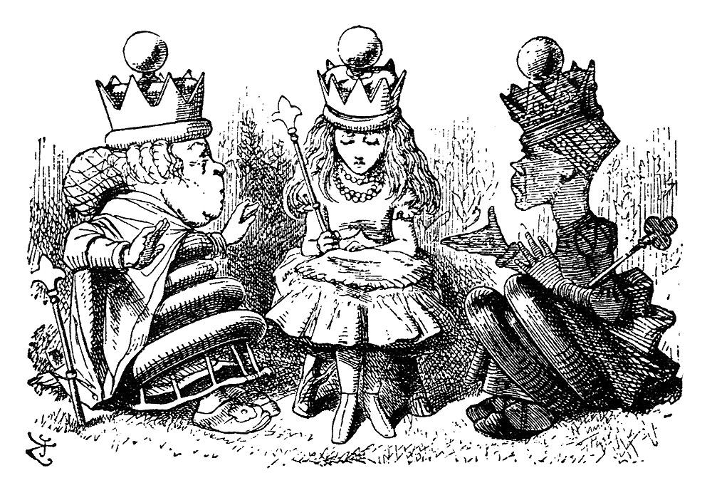 queen alice sits between the chess queens